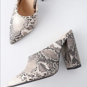 Snake animal prints chunky heel slip on mules